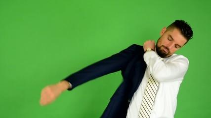 business man wears jacket - green screen - studio