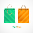 Vector green and orange paper shopping bags
