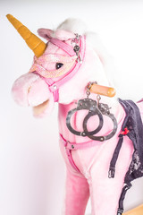Pink Unicorn with handcuffs on a white background