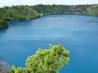 The Blue Lake in Mount Gambier in Australia is vivid blue