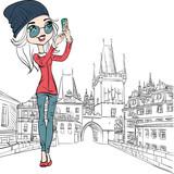 Fototapety Vector cute girl makes selfie in Prague