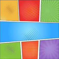 Comics pop art style blank layout template with clouds beams and