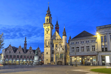 Grote Markt square of Aalst in the evening