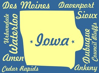 iowa outline map with cities names