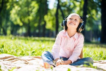 Kid relaxing in park