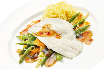 Plate of fish, pasta and vegetables