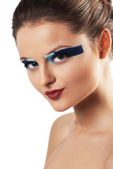 beautiful young woman with bright glamour make up