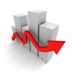 succesful business bar graph with rising up red arrow