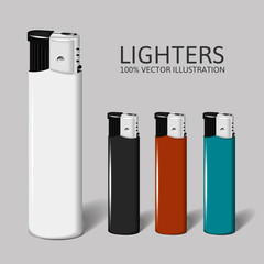 Realistic set of lighters for your brand.