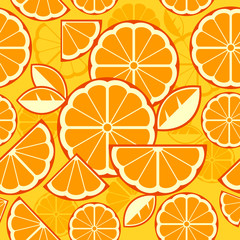Citrus Fruit Slices background in yellow, vector illustration