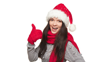 Xmas woman showing thumb up