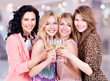 Group of young happy women have a party.