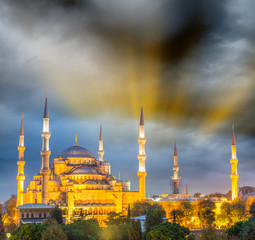 Magnificent sunset view of Blue Mosque, Istanbul - Turkey