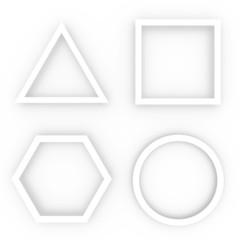 White geometric shapes