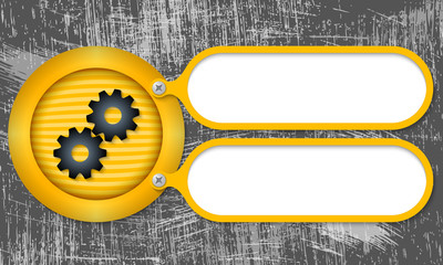 Yellow frames with cogwheels and scratched background