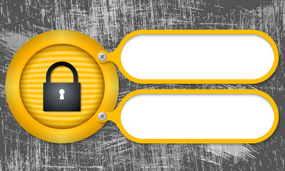 Yellow frames with padlock and scratched background