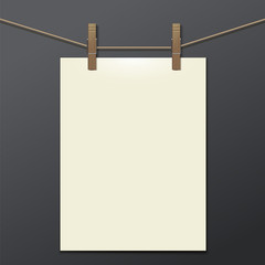 template white bumani hanging on clothespins