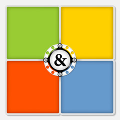 four colored frames for white text and ampersand