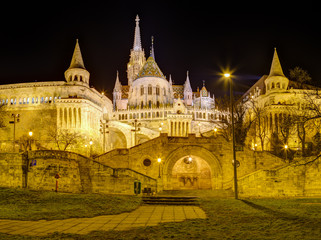Fisherman's bastion night view, Budapest, Hungary