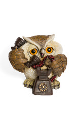 Figurine owl talking on the phone