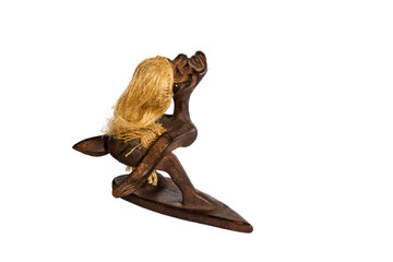 Wooden statuette African surfer