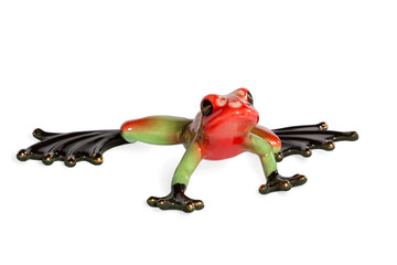 Statuette of a green and red frog