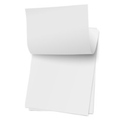 Flipping page on a stack of note papers isolated on white