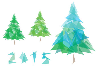 Vector creative  New year 2015 and Christmas tree,  triangles sh