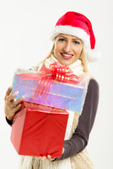 Cute Girl With Christmas Gifts
