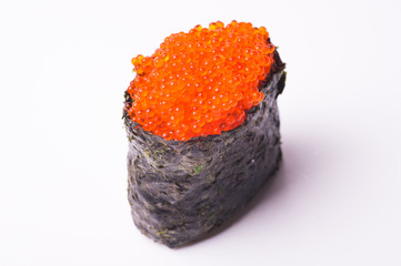 flying fish caviar sushi on white background