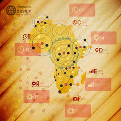 Africa map, infographic design illustration, wooden background