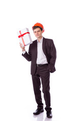man in a helmet suit gives gift white box with red
