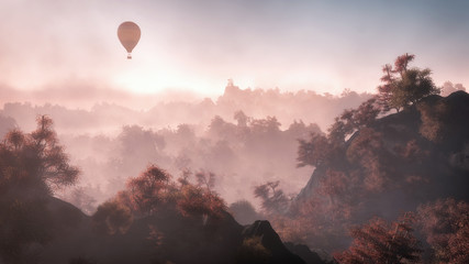 Aerial of balloon flying over mountain landscape with autumn for