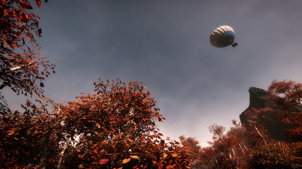Autumn trees with blue cloudy sky and balloon flying over. Low p