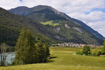 Austrian Alps-view to city Pfunds and river Inn
