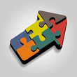 Arrow puzzle concept on gray background. Vector
