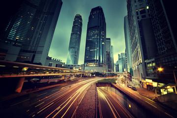 traffic in Hong Kong at sunset time