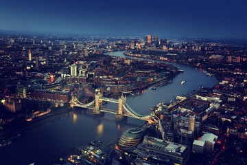 London aerial view with Tower Bridge, UK