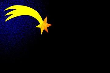 Sternschnuppe aus Gold in der Nacht