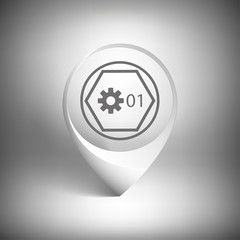 Map pointer. White icon template vector