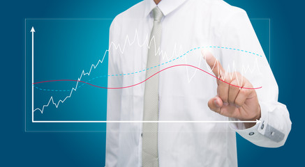 Businessman standing posture hand touch graph finance isolated