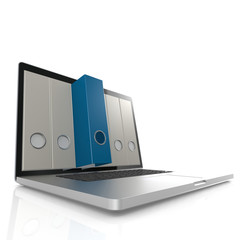 Laptop with blue folder