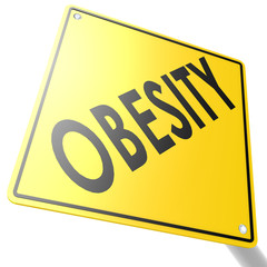 Road sign with obesity