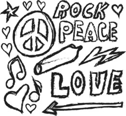 doodle grunge Peace, Love, Joint and Music design material