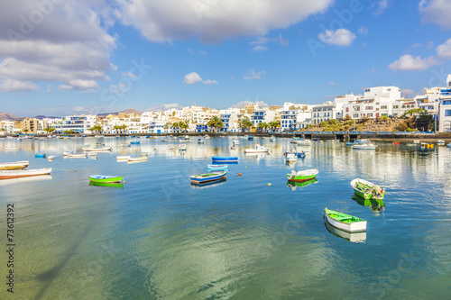 Arrecife in Lanzarote Charco de San Gines boats and promenade