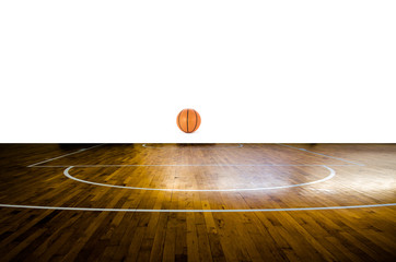 Basketball court with ball over white background