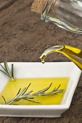 Pouring virgin olive oil