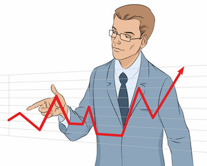 Businessman making presentation with graph