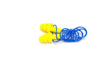 Yellow earplugs with blue band