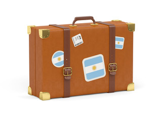 Suitcase with flag of argentina
